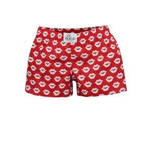 Boxeri de damă El.Ka Underwear roșii cu imprimeu cu buze