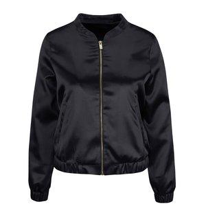 Jachetă bomber neagră Miss Selfridge cu aspect satinat