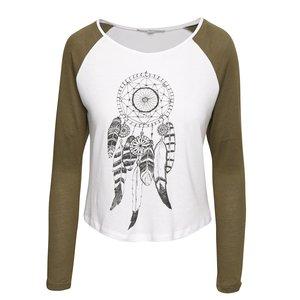 Tally Weijl, Bluză albă TALLY WEiJL cu imprimeu și mâneci verzi
