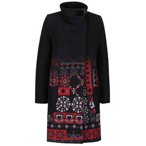 Palton negru Desigual Asha cu imprimeu