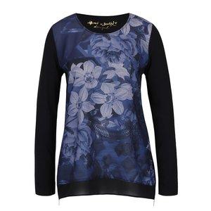 Desigual, Bluză neagră Desigual Marino cu imprimeu floral și fermoare laterale