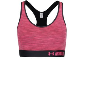 Bustieră sport negru cu roz Under Armour Mid Space Dye