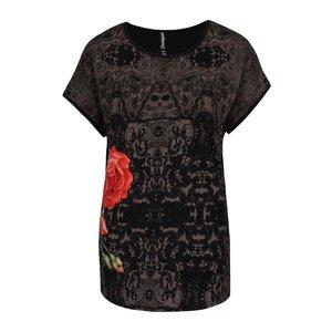 Desigual, Tricou negru Desigual Perla cu imprimeu și broderie