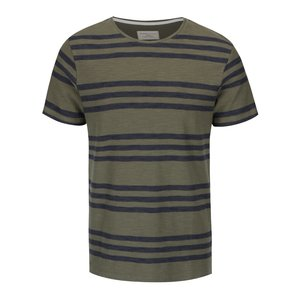 Selected, Tricou verde cu dungi albastre Selected Homme Kris din bumbac