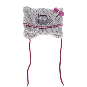 Căciulă gri & roz 5.10.15. cu print pentru fete