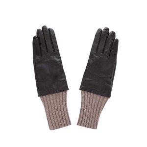 Mănuși maro ONLY Oregon din piele cu manșete din lână