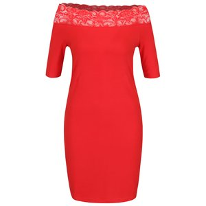 Rochie bodycon Vero Moda Lacy roșie cu dantelă