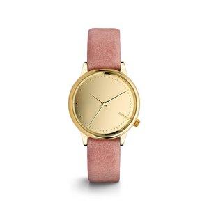 Ceas roz de damă Komono Estelle Mirror cu cadran auriu