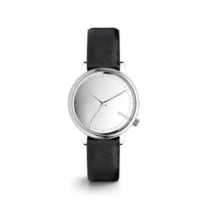 Ceas negru de damă Komono Estelle Mirror cu cadran argintiu