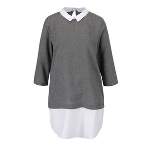 Bluză gri ONLY Saki cu model discret și detalii albe