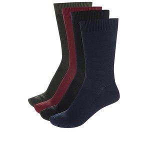 Set de 4 perechi de șosete vișiniu & albastru & negru & kaki Jack & Jones