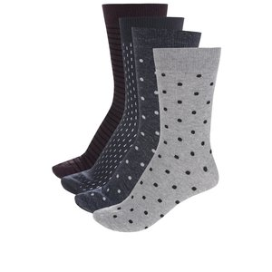 Set de 4 perechi de șosete gri & visiniu & albastru & negru Jack & Jones Stepper