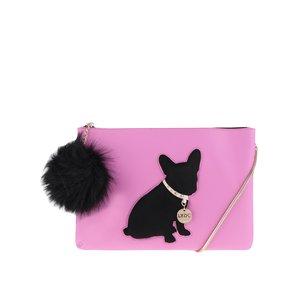 Geantă plic roz LYDC cu accesoriu pompon