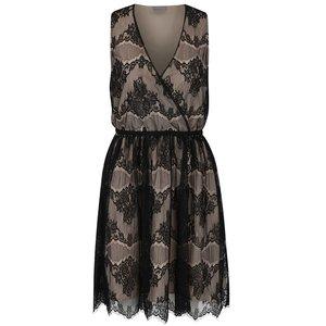Rochie negru cu bej din dantelă Vero Moda Sally