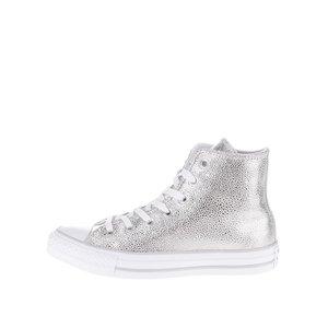 Converse, Teniși înalți argintii de damă Converse Chuck Taylor All Star din piele