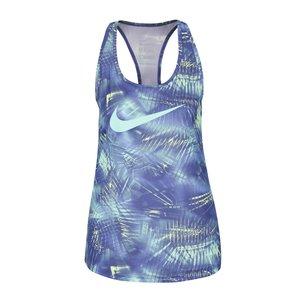 Top pentru antrenament albastru & verde Nike Dry Training cu imprimeu pentru femei