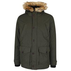Jachetă kaki cu glugă și blană sintetică Burton Menswear London