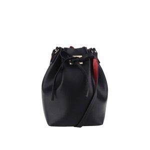 Geantă neagră Pieces Deena cu interior contrast roșu