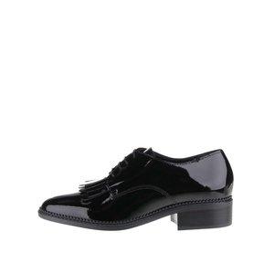 Pantofi negri Pieces Santon cu aspect lucios