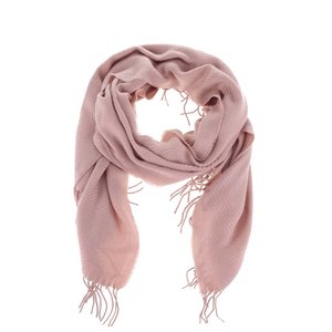 Eșarfă roz pal Pieces Kial cu franjuri