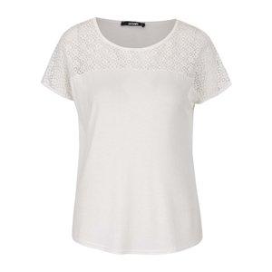 Haily´s, Tricou alb fildeș Haily´s Livia cu inserție brodată