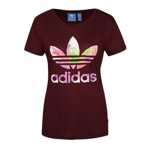 adidas Originals, Tricou vișiniu adidas Originals cu logo multicolor