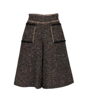 Pantaloni culottes bej cu negru Pietro Filipi