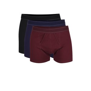 Burton Menswear London, Set de 3 boxeri negru & vișiniu & albastru Burton Menswear London