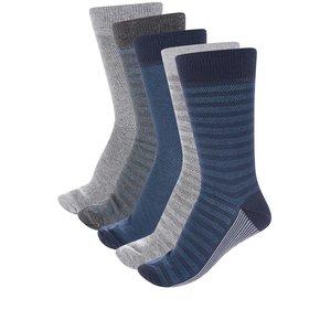 Burton Menswear London, Set de 5 perechi de șosete gri & albastru închis Burton Menswear London