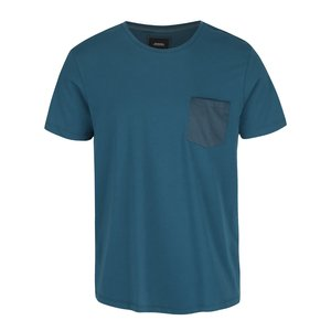 Tricou albastru petrol Burton Menswear London din bumbac cu buzunar