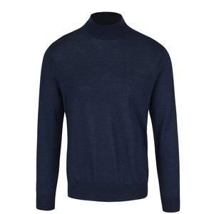 Pulover albastru închis Burton Menswear London cu guler înalt din lână Merinos la pretul de 194.99