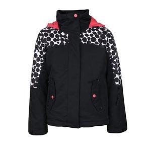Geacă neagră Roxy cu model cu bulinealbe și glugă roz pentru fete