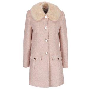 Palton roz melanj cu guler din blană sintetică Miss Selfridge la pretul de 419.99