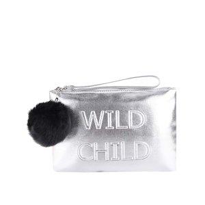 Geantă plic argintie cu detaliu din blană sintetică Miss Selfridge