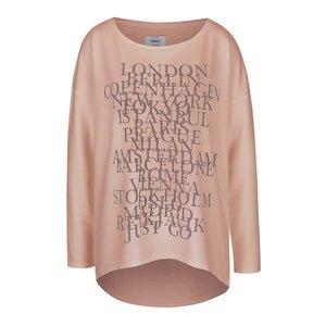Bluză roz cu imprimeu text ONLY New Clara Elcos