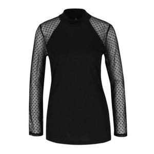 Bluză neagră cu mâneci din plasă ONLY Lulu