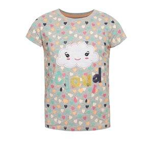 Tricou gri melanj cu imprimeu cu inimioare 5.10.15. pentru fete