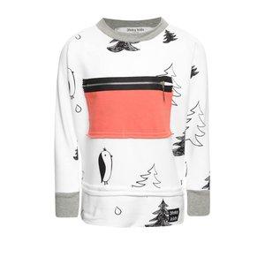 FunkyKids, Bluză albă unisex 3FnkyKids cu imprimeu și buzunar roșu