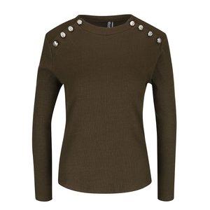 Bluză maro cu model striat și nasturi decorativi Haily´s Rina