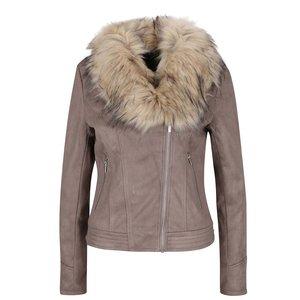 Jachetă maro Dorothy Perkins cu blană sintetică