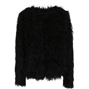 VILA, Jachetă neagră VILA Lux din blană sintetică