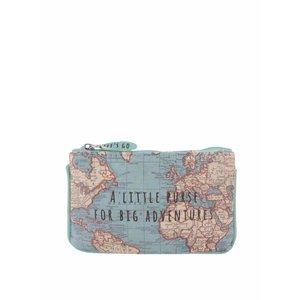 Portofel albastru Sass & Belle cu model hartă