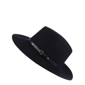 Pălărie albastru închis cu garnitură din imitație de piele Pieces Daniella