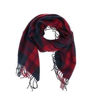 Fular albastru cu roșu Jack & Jones Color Check cu franjuri și carouri