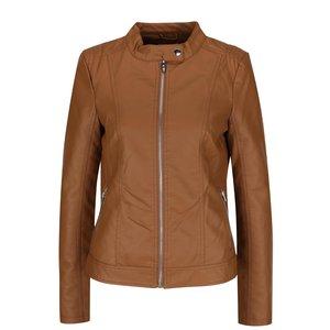 Jachetă maro VILA Aya cu aspect de piele