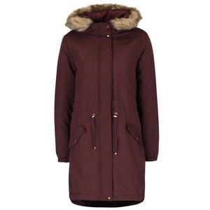 Jachetă Parka roșu Bordeaux cu blană sintetică Vero Moda Sabella la pretul de 229.99