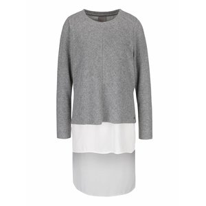 Vero Moda, Pulover asimetric gri melanj cu alb Vero Moda Isla
