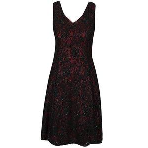 Rochie negru cu roșu Bordeaux din dantelă Mela London la pretul de 219.99