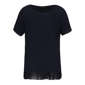 Bluză cu mânecă scurtă bleumarin Dorothy Perkins cu terminație plisată