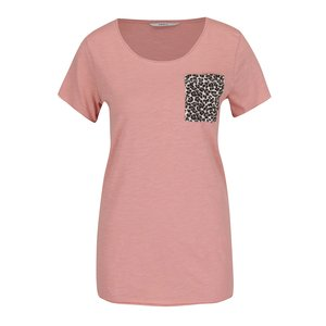 Tricou roz pal ONLY Easy cu buzunar aplicat